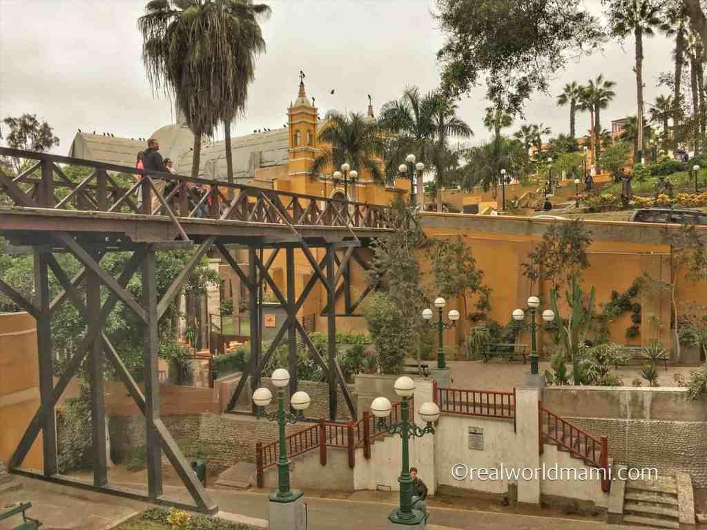 Lima Peru Barranco with kids. Bridge of Sights or Puente de los suspiros