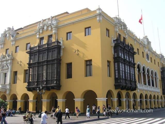 View of balconies and Plaza de Areas Lima