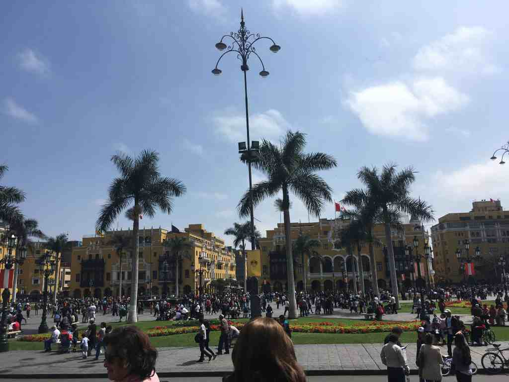 Travel with kids. View of plaza de Armas Lima