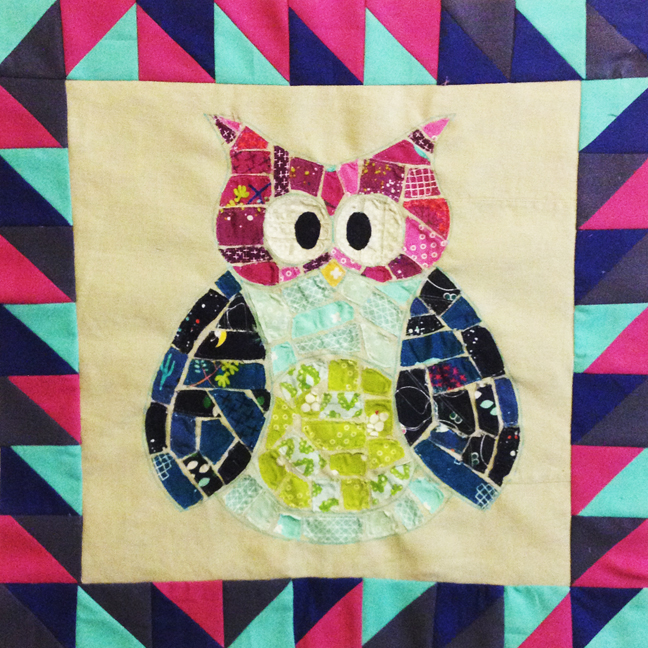 Ticker Tape Owl Quilt with EASY Half-Square Triangle Border