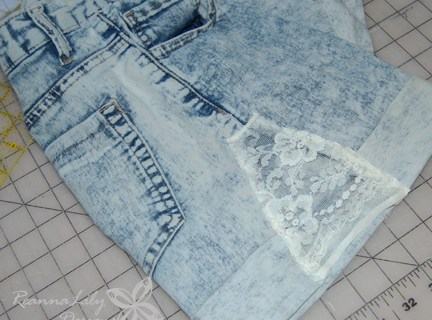 Acid-Washed Lace-Accent Shorts Alteration