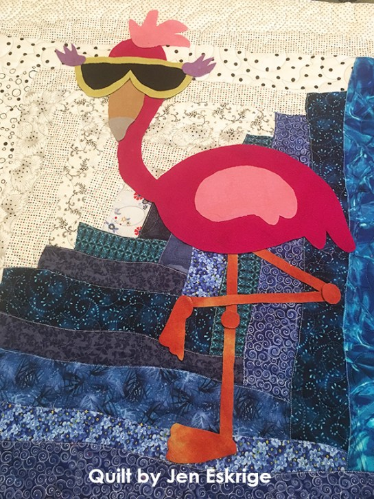 Franny Flamingo-Wool Applique-Jen Eskridge