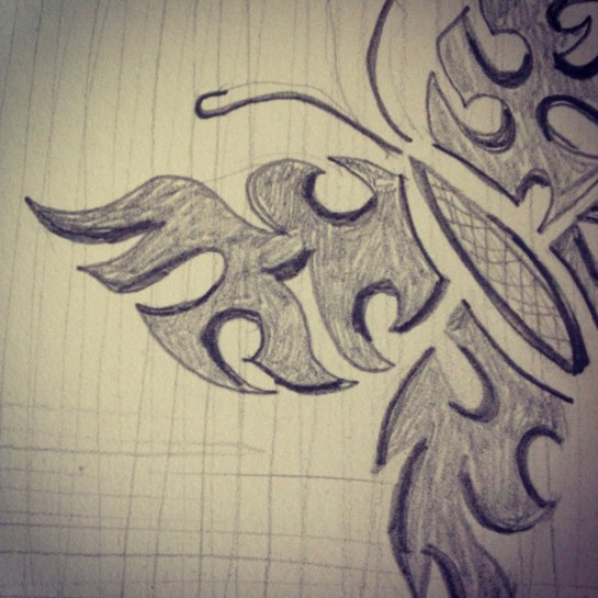 Original Sketch | ReannaLily Designs | Butterfly Tattoo Quilt