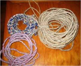 Strips of plastic bags can be wound in strong ropes for many domestic uses including tying up animals and making a washing line
