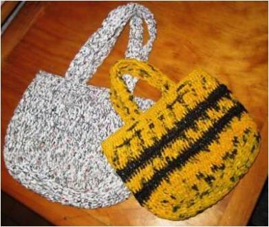 Photo of handbags crocheted from strips of plastic bags