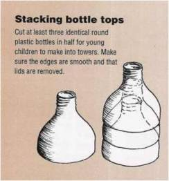 Bottles can be cut in many ways for toys, teaching aids and other useful containers at home and in schools, such as these ideas from Footsteps