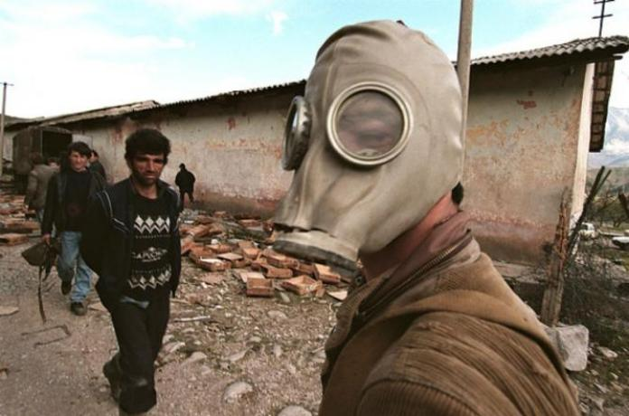 Albanians in the Albanian Civil War gas mask