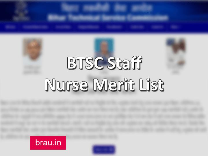 BTSC Staff Nurse Merit List
