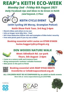 Keith Eco Week - Monday 2nd - Friday 6th August 2021 @ Facebook and 2 local Keith Events
