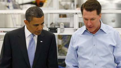 President Barack Obama with Solyndra's Chris Gronet