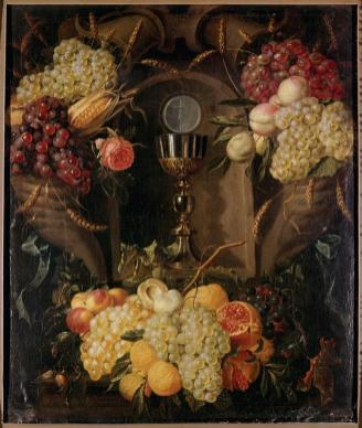 Allegory of the Eucharist by Alexander Coosemans (1627-89), Oil on Canvas, Painted 1654, © Musée de Tessé, Le Mans, France. For other beautiful works of art please visit my friend Patrick van der Vorst at www.Christian.Art.