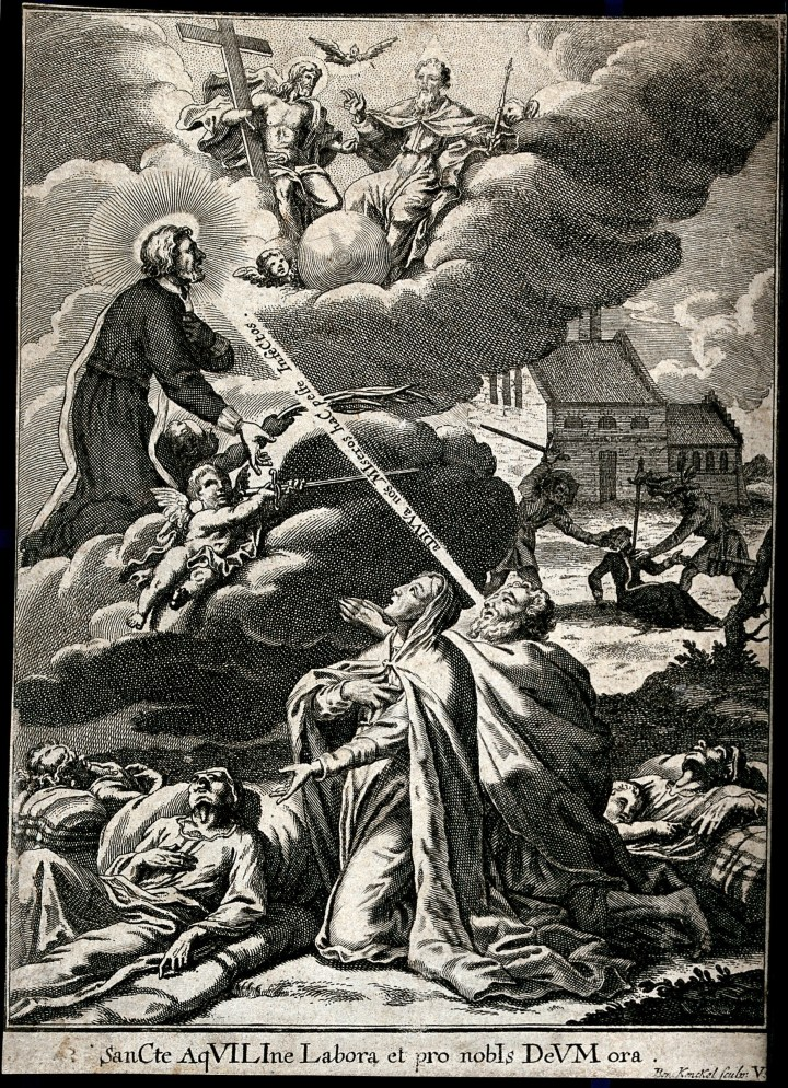 Saint Aquilinus of Milan intercedes before the Holy Trinity for people praying to him for protection against plague- Engraving by B. Kenckel, 1713