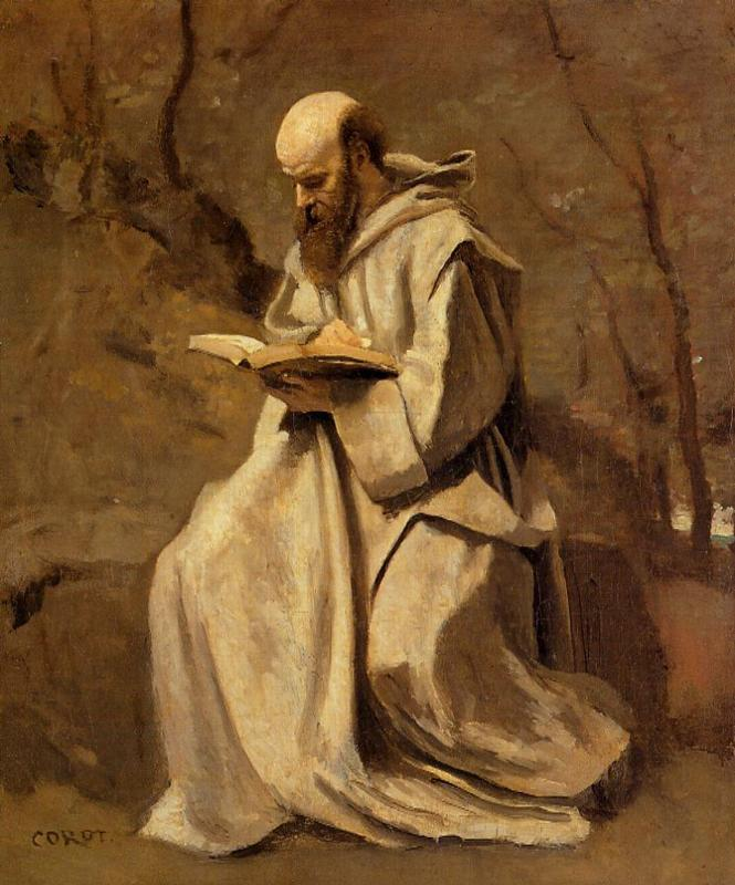 monk-in-white-seated-reading-camille-corot