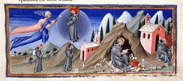 1450_ Giovanni di Paolo, Dante and Beatrice with St. Peter Damian_Paradiso XXI, Divine Comedy by Dante Alighieri_Italian, c. 1450_London, British LIbrary_MS Yates Thompson 36, fol. 167