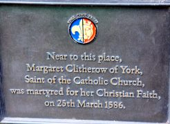 Plaque commemorating St. Margaret Clitherow of York