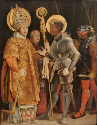 Meeting of Saint Erasmus and Saint Maurice by Matthias Grünewald (1517–23), Alte Pinakothek. Grünewald used Albert of Mainz, who commissioned the painting, as the model for St. Erasmus.