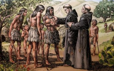 A baptism conducted by California mission friars is shown in a sketch displayed at the Mission Basilica San Diego de Alcala in San Diego July 27. This drawing is part of a collection of sketches depicting mission life by California artists A.B. Dodge and Alexander Harmer. (CNS photo/Nancy Wiechec) See SERRA-TIMELINE July 30, 2015.