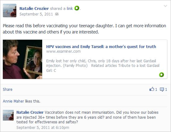 Crozier 8 Gardasil lie and injected 36 times lie