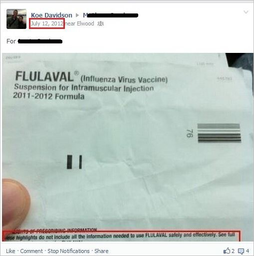 Davidson 44 shared fluvax antivax meme on another's wall in 2012