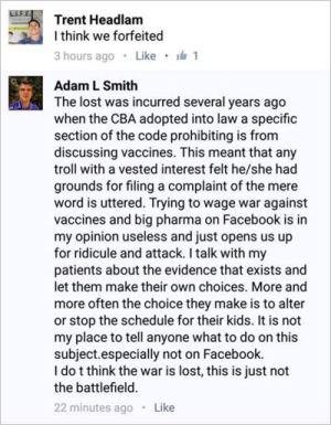 Adam L Smith 11 ACPS 5 clinical antivax advice given