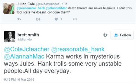 Brett Smith 241 death threats karma