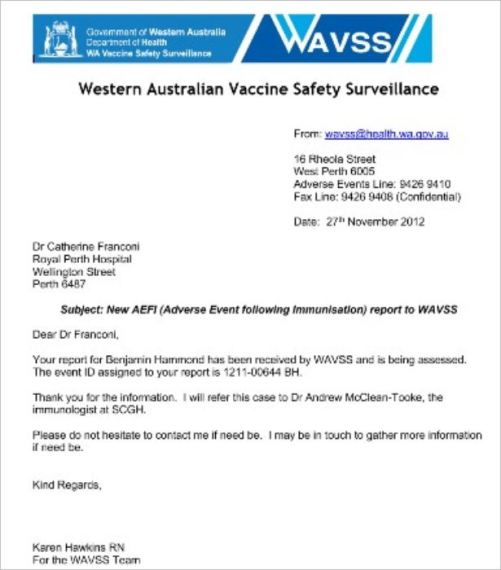 Hammond 91 update March 3 3016 WAVSS AEFI report 2012