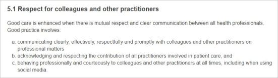 CBA 10 Code of Conduct 5.1 Respect for colleagues and other practitioners