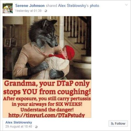 Serene Johnson 169 September 2 2016 profile WC antivax