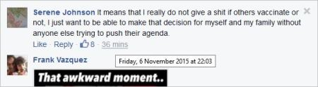Serene Johnson 41 AVA antivax thread November 6 2015