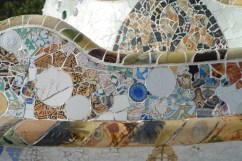 tile-work park guell in barcelona.  I loved my travel in Spain.