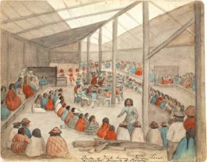 1859 Watercolor by James Gilchrist Swan of a Potlatch.