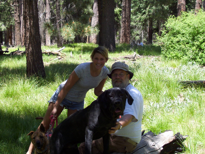 Hubby and daughter posing in Lemmon Meadow with our two dear furry friends who are no longer with us, 18 years or so after Hubby and I were married there.