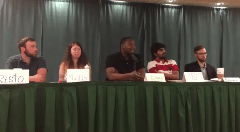 Muslim Panelist answering question about infidels at Portland State