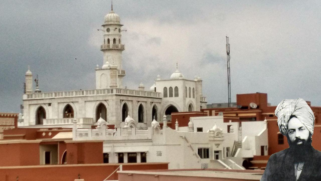 Masjid Aqsa Qadian with Mirza Ghulam Ahmad portrait