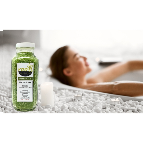 Roots Immunity Bath Soak is a natural remedy that relieves cold and flu like symptoms. No more under the weather feeling day. Made with Pharmaceutical Grade - Premium Epsom Salt Crystal (maximum strength) 100% Pure NON – GMO Therapeutic Blend of Cinnamon, Clove, Eucalyptus, Rosemary, Lemon & Anise and Spinach Powder.