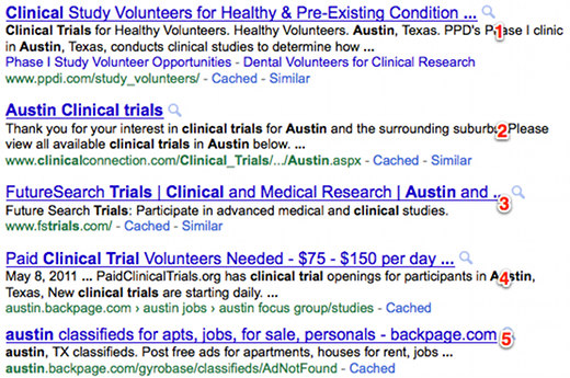 Clinical trials search engine optimization