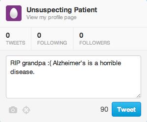 fictional patient tweet