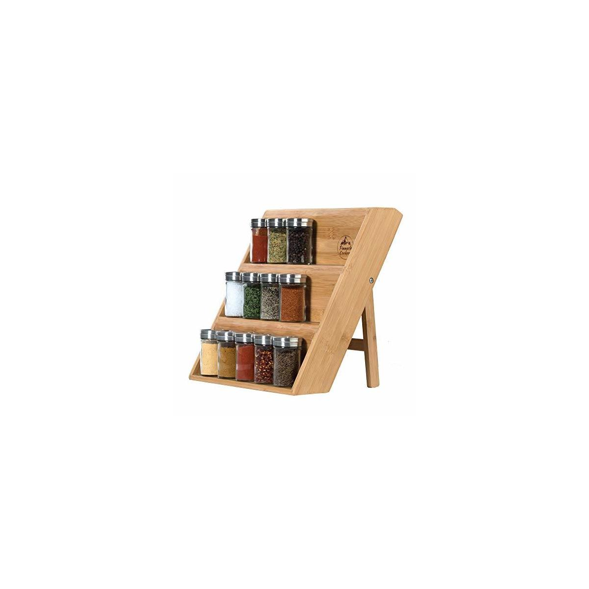pinnacle cookery bamboo spice rack eco friendly wooden spice rack 3 tiered spice organizer for drawer space saving wooden vertical spice shelf for