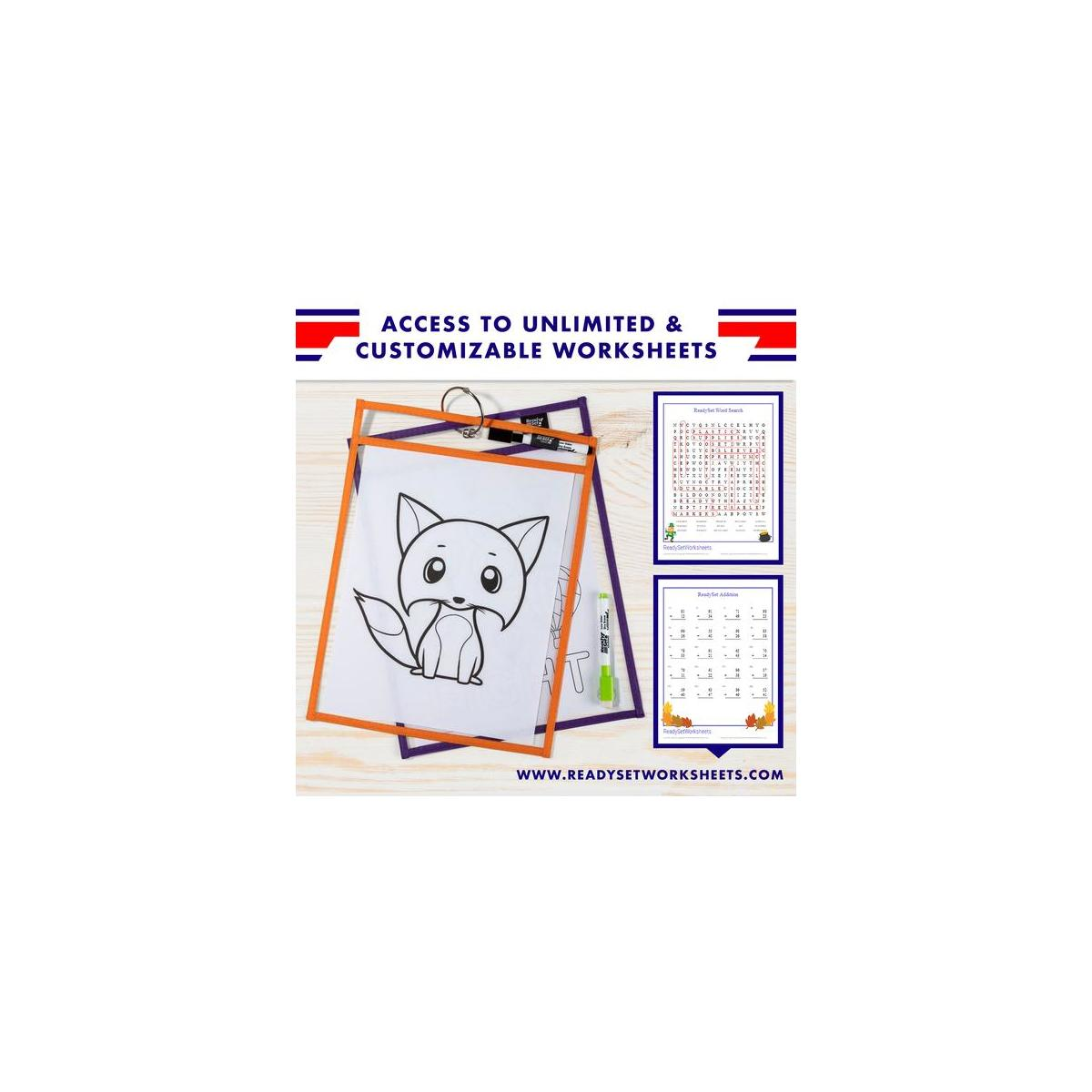 15 Pack 10x14 Premium Reusable Dry Erase Pockets With
