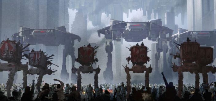 Byli szturmowcy i mieszkańcy Coruscant wiwatują wokół maszyn kroczących