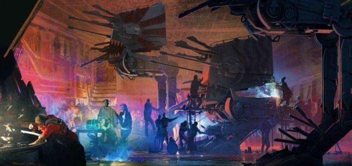 Mieszkańcy niższych poziomów Coruscant malują i przygotowują stare maszyny kroczące do walki