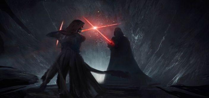 Kylo walczy z Vaderem podczas sekwencji w jaskini