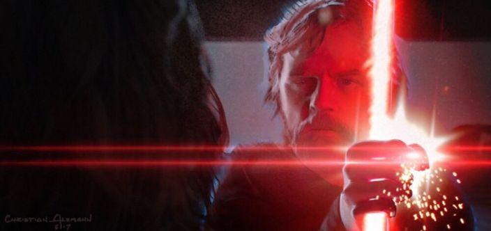 Luke blokuje miecz Kylo