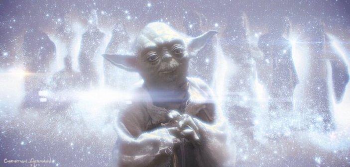 """""""Rey leży ranna na kamiennej podłodze. Światło wypełnia przestrzeń wokół niej. Dookoła unoszą się cząstki energii. Światło nasila się, aż do momentu, w którym naszym oczom ukazuje się miejsce, jakiego nie znamy. Plan astralny. Yoda, Luke i Obi-Wam pojawiają się przed nią. Rey: """"Czy to jest śmierć?"""" Obi-Wan: """"W tej rzeczywistości nie ma pojęcia śmierci"""". Yoda wyznaje, że Rey osiągnęła coś, czego oni nie zdołali. Luke: """"Zdecydowałaś się przyjąć zarówno mrok, jak i światło, dzięki czemu odnalazłaś balans"""". Duchy Mocy oferują Rey pozostanie pośród nich i zaznanie prawdziwego szczęścia lub powrót do świata śmiertelników, gdzie zazna miłości i straty. Duchy znikają. Obi-Wan: """"Jesteś Jedi, Rey Solana, ale nie będziesz ostatnim""""."""