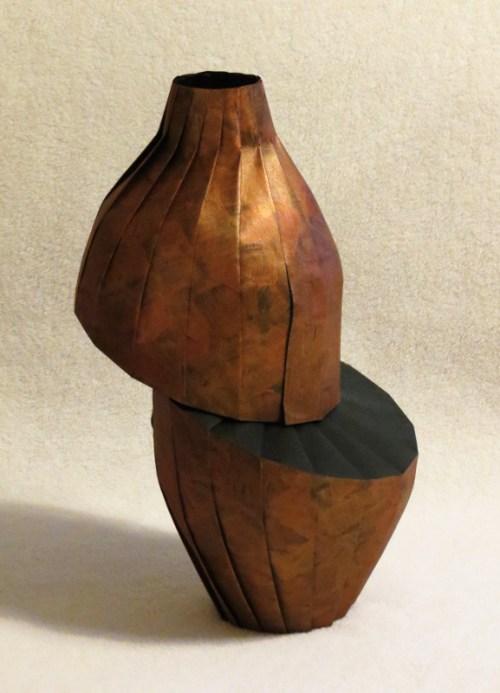 Copper diagonal shift vase