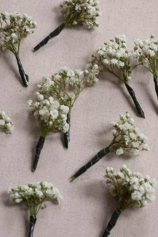 Bunches of gypsophelia flowers