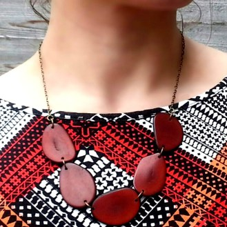 Brown 5 slices Tagua Nut Necklace