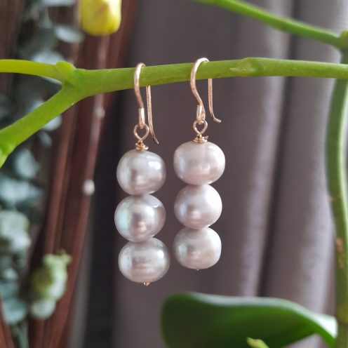 Silver 3 Pearls Drop Earrings