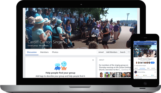 FB Group pages as laptop and as phone