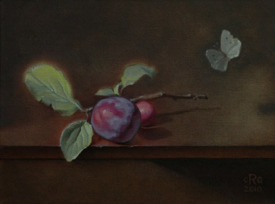 Rebecca C Gray, Plums with Butterfly, 2010
